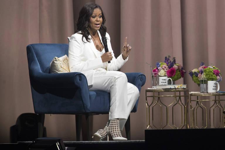 A ex-primeira-dama dos EUA, Michelle Obama, durante o evento em Nova York no Sábado (1º)