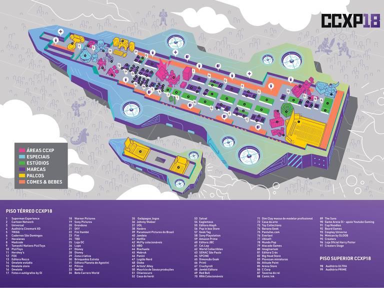 Mapa Comic Con 2018 São Paulo