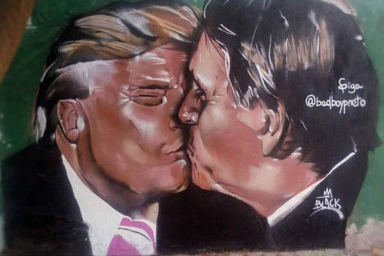 Imagem do grafite com o beijo de Jair Bolsonaro e Donald Trump, de Yuri Souza, conhecido como Bad Boy Preto, feito no Ceará e que foi apagado