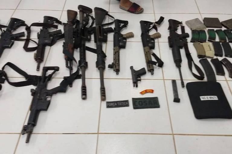 Arsenal apreendido com quadrilha de assalto a bancos no Maranhão