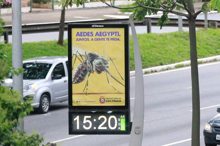 Cartaz da nova campanha da Prefeitura de São Paulo contra o mosquito Aedes aegypti