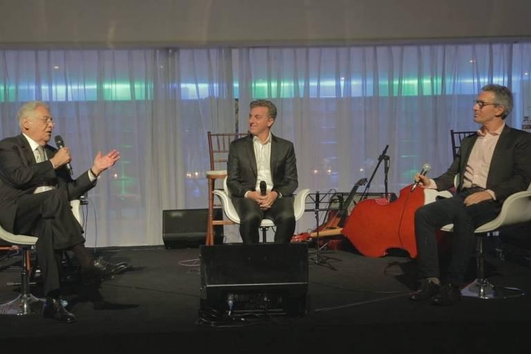 FHC, Luciano Huck e Romeu Zema durante evento do RenovaBR na Casa Fasano, em São Paulo