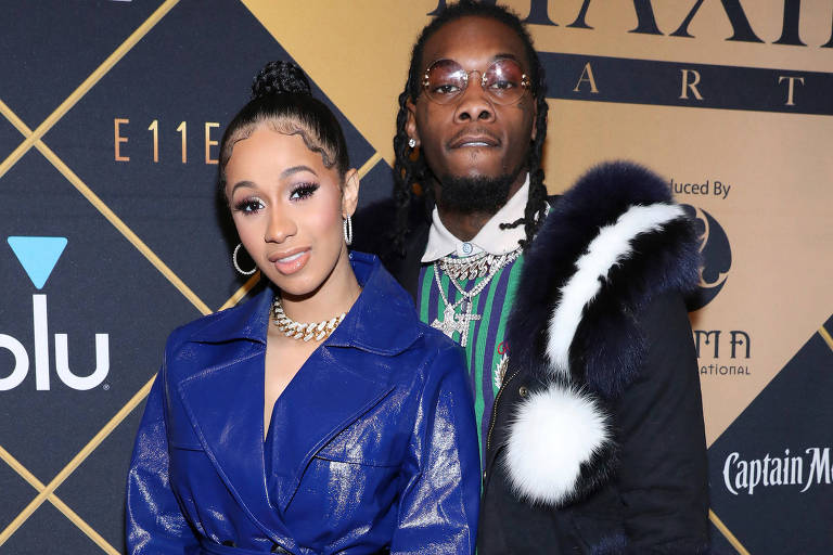 Cardi B e o marido Offset durante evento do Super Bowl em Minneapolis