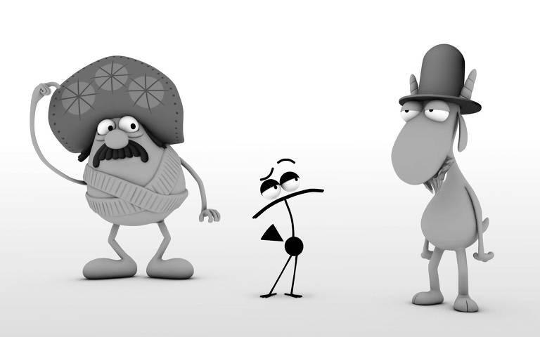 Cena do documentário 'Henfi', em que personagens do cartunista viram animação