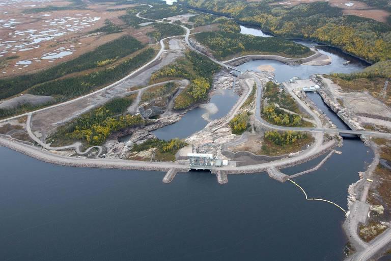 Imagem aérea da hidrelétrica de Quebec Romaine 1