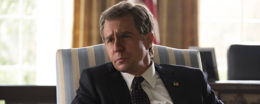 Sam Rockwell como George W. Bush em 'Vice'