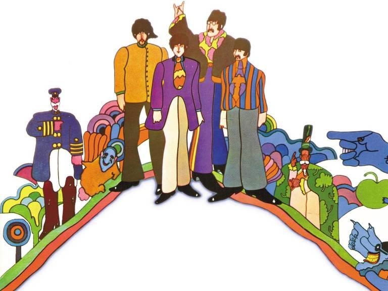 Capa do CD 'Yellow Submarine', trilha sonora do desenho animado de mesmo nome que comemora 50 anos