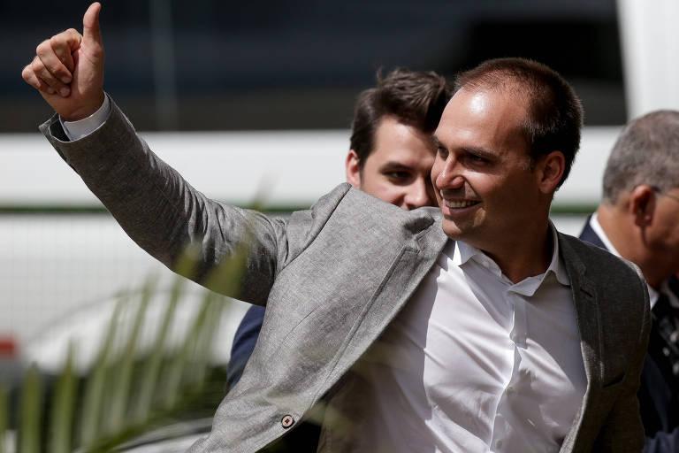 O deputado federal Eduardo Bolsonaro (PSL-SP), filho do presidente eleito, Jair Bolsonaro, no CCBB