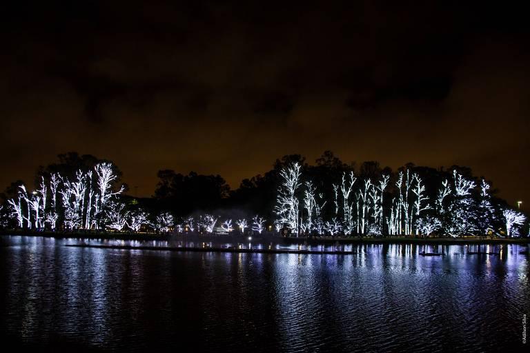 Iluminação  especial de Natal no lago do Ibirapuera