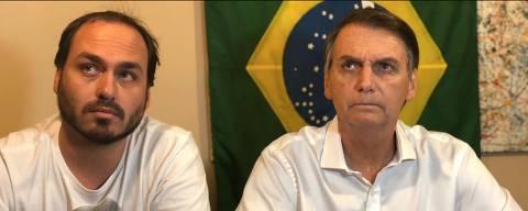 Carlos Bolsonaro e Jair Bolsonaro gravam vídeo para redes sociais às vésperas da disputa eleitoral no 1º turno Arquivo Pessoal/Reprodução/Instagram