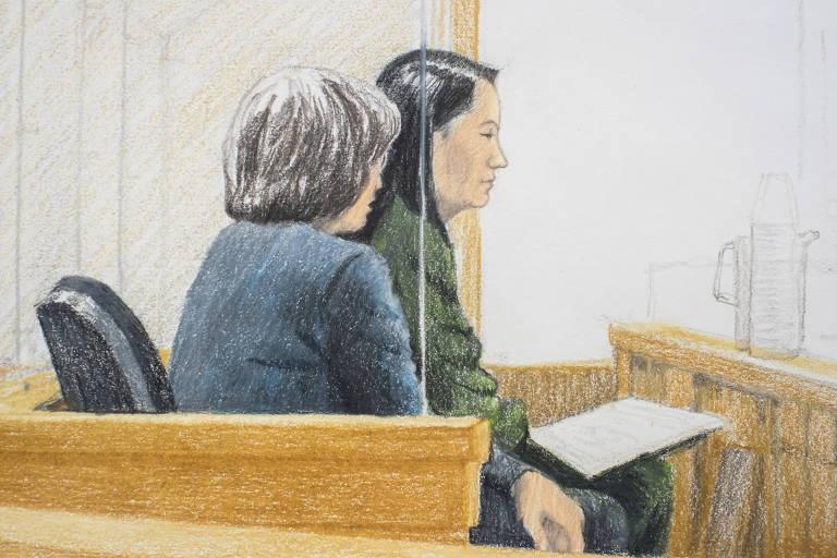 Desenho de Meng Wanzhou, diretora financeira da Huawei, em um tribunal de Vancouver nesta sexta-feira