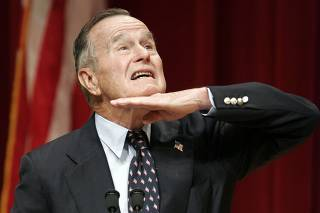 George HW Bush Presides Over Naturalization Ceremony For Military Personnel