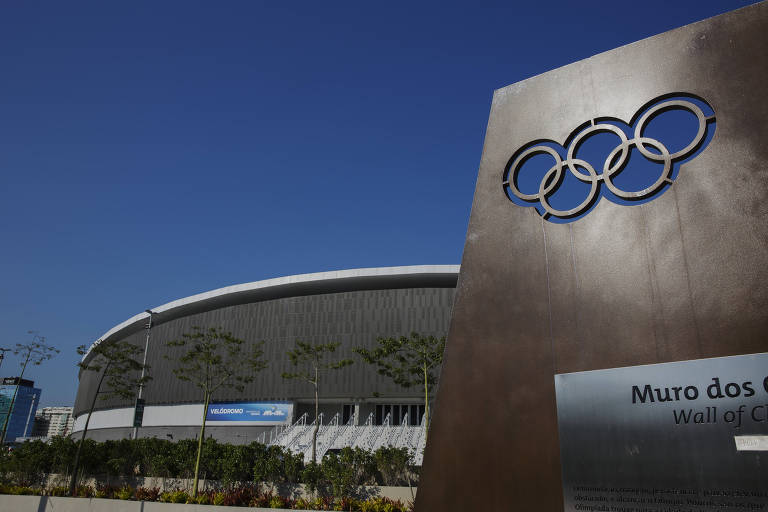 Muro dos campeões no Parque Olímpico no Rio de Janeiro