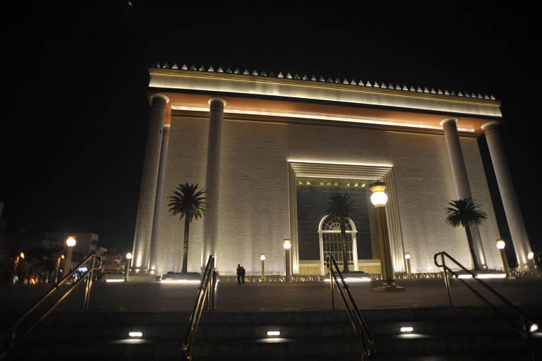 Fachada do Templo de Salomão, da Igreja Universal do Reino de Deus, na zona leste de São Paulo