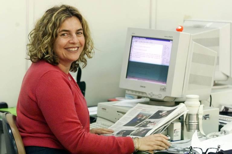 A jornalista Joyce Pascowitch, na Folha, em 1999