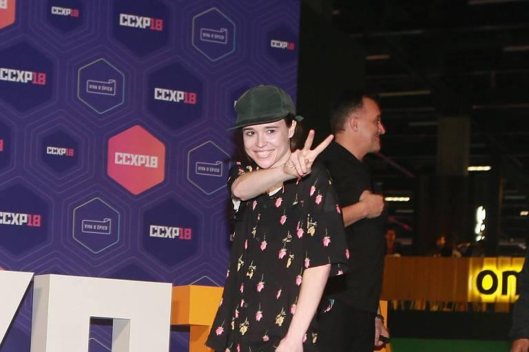 A atriz Ellen Page na Comic Con Experience, em São Paulo