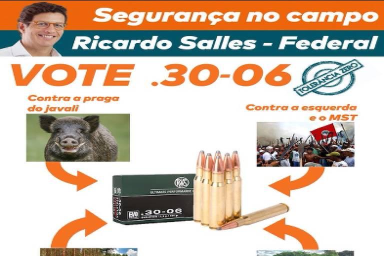 Material de campanha de Ricardo Salles pede voto contra praga do javali e bandidagem no campo