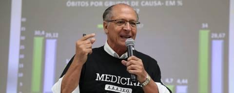 O ex-presidenciável Geraldo Alckmin (PSDB) dá palestra para alunos de medicina na Uninove, em Bauru (SP)