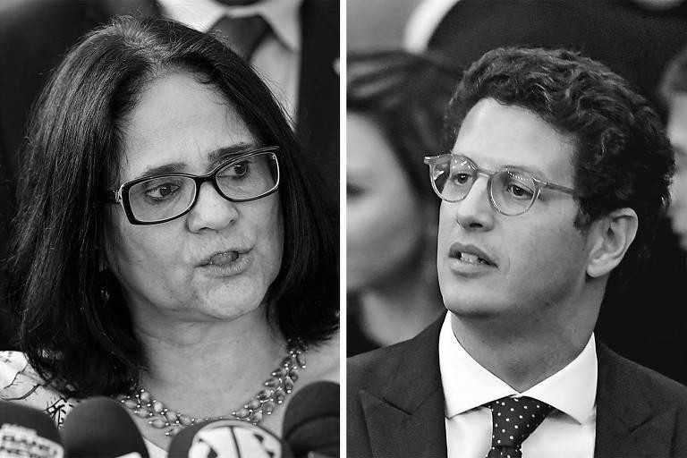 Os futuros ministros Damares Alves (Mulheres, Família e Direitos Humanos) e  Ricardo Salles (Meio Ambiente)