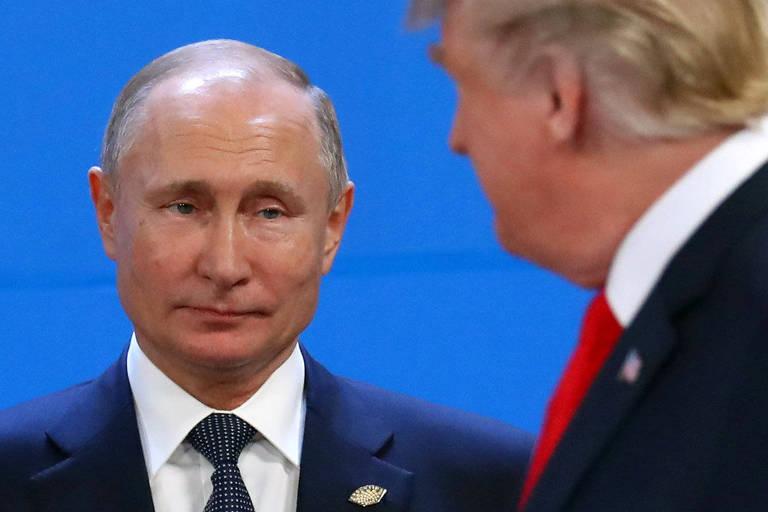 Os presidentes da Rússia, Vladimir Putin, e dos Estados Unidos, Donald Trump, durante a cúpula do G20 em Buenos Aires