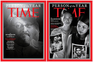Combination image of TIME's Person of the Year 2018 covers which named journalists, including a slain Saudi Arabian writer and a pair of Reuters journalists imprisoned by Myanmar's government, as its