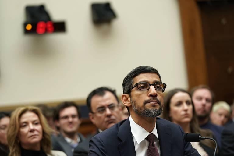 Sundar Pichai, presidente-executivo do Google; ele é o terceiro dirigente de empresas de tecnologia a depor no Congresso americano este ano