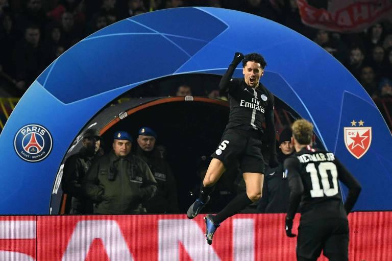 Marquinhos comemora gol pelo PSG na Champions League