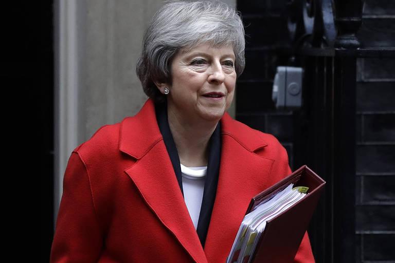 Primeira-ministra britânica Theresa May em Londres