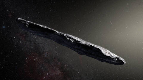 An artist's impression of`'Oumuamua. MUST CREDIT: M. Kornmesser, European Southern Observatory