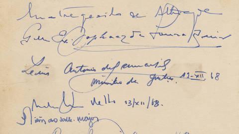Autógrafos que Pedro Corrêa do Lago recolheu de políticos no dia da assinatura do AI-5