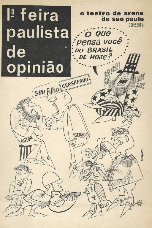 Capa do programa da 1ª Feira Paulista de Opinião, realizada pelo Teatro de Arena em junho de 1968, em São Paulo