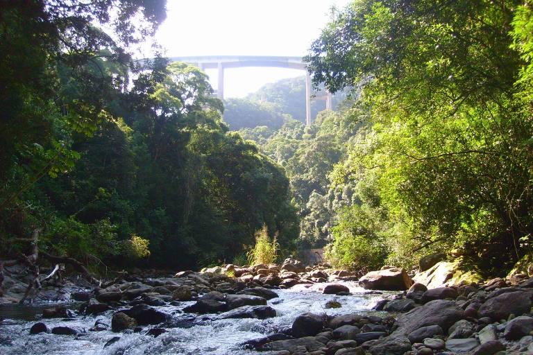 Rio Passareúva, no núcleo Itutinga-Pilões, que faz parte do Parque Estadual da Serra do Mar, em São Paulo