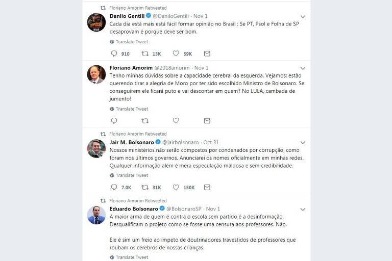 Reprodução de post no Twitter do publicitário Floriano Amorim, anunciado para a chefia da Secom (Secretaria de Comunicação) no governo Jair Bolsonaro.