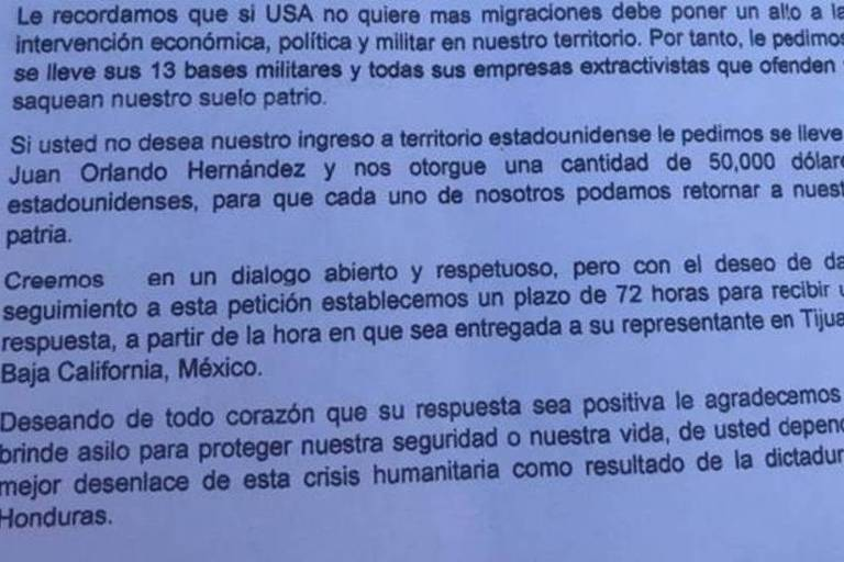 Carta de imigrantes ao presidente Donald Trump