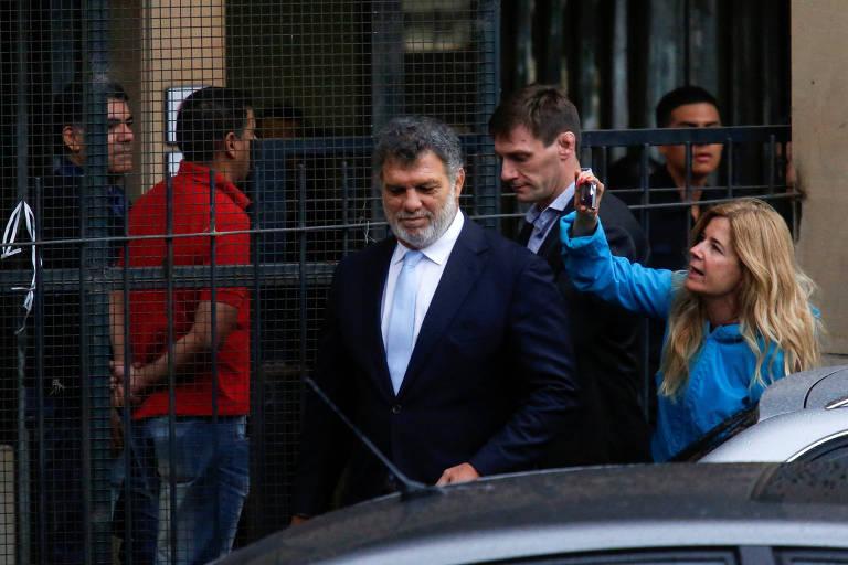 Gianfranco Macri, irmão do presidente argentino, após deixar o depoimento em Buenos Aires