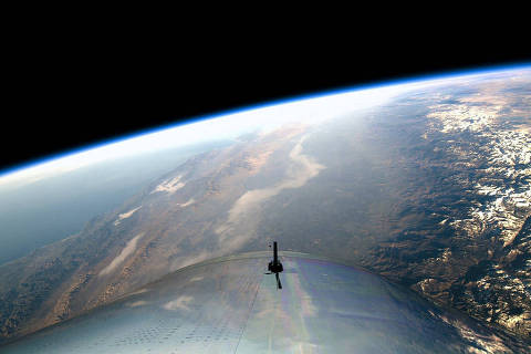 A view from the edge of space is seen from Virgin Galactic's manned space tourism rocket plane SpaceShipTwo during a space test flight over Mojave, California, U.S. December 13, 2018. Virgin Galactic/Handout via REUTERS.  ATTENTION EDITORS - THIS IMAGE WAS PROVIDED BY A THIRD PARTY. NO ARCHIVES, NO SALES. ORG XMIT: TOR513