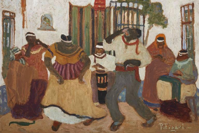 pintura de pessoas dançando assinada por Pedro Figari