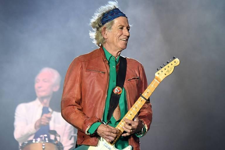"""Keith Richards durante show dos Rolling Stones em Marselha, na França, em junho de 2018, como parte da turnê """"No Filter"""""""