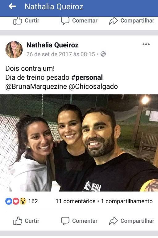 Imagens do Instagram da personal trainer Nathalia Queiroz, 29,  que aparece em relatório do Coaf (Conselho de Controle de Atividades Financeiras) que identificou movimentações financeiras atípicas do policial militar Fabrício Queiroz, seu pai e ex-assessor do senador eleito Flávio Bolsonaro (PSL-RJ)