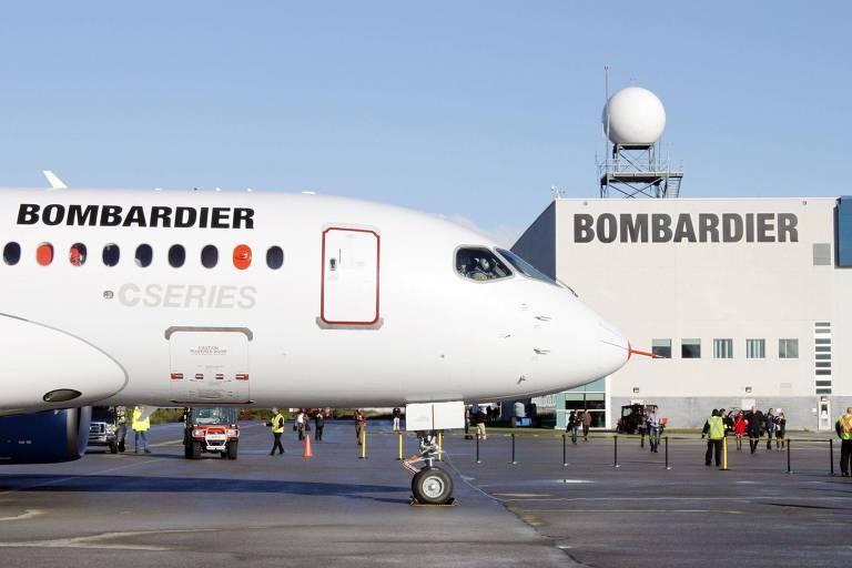 Avião da Bombardier em Quebec, no Canadá