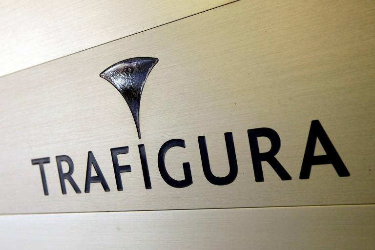 Logo da empresa Trafigura, na entrada da companhia em Genebra, na Suíça