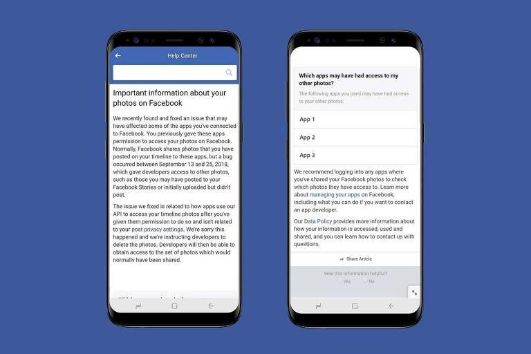 Imagem mostra duas telas de celular com texto, em inglês, de comunicado alertando para o vazamento das informações