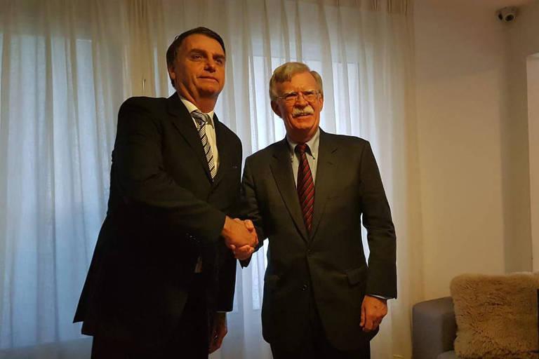 O presidente eleito Jair Bolsonaro se encontra com o assessor de Segurança Nacional dos EUA, John Bolton, no Rio, em 29.nov.18