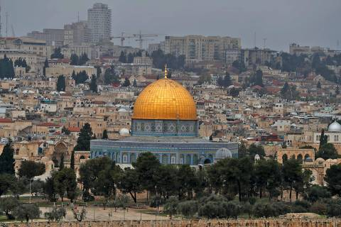 A picture taken from the Mount of Olives shows the Old City of Jerusalem with the Dome of the Rock mosque in the centre, on December 7, 2018. (Photo by AHMAD GHARABLI / AFP) ORG XMIT: XAG1894