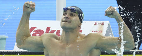 Brazil's Nicholas Santos reacts after winning the men's 50m butterfly at the 14th FINA World Swimming Championships in Hangzhou in eastern China's Zhejiang Province on Saturday, Dec. 15, 2018. (AP Photo/Ng Han Guan) ORG XMIT: XAF119