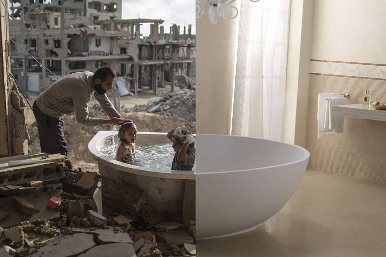 O artista turco Ugur Gallenkus faz montagens que combinam fotos famosas e cenas familiares com imagens de zonas de conflito