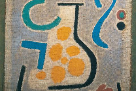 "Exposição ""Paul Klee, uma Viagem ao Brasil"", no CCBB. Paul Klee die Vase, 1938, 122 Kleisterfarbe auf Jute; originale Rahmenleisten 88 x 54 cm Fondation Beyeler, Riehen/Basel"