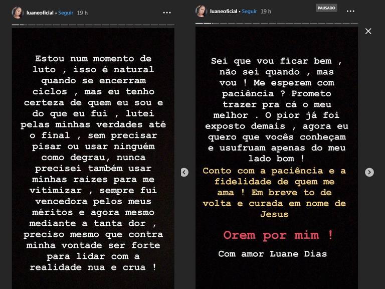Luane Dias faz desabafo no Instagram