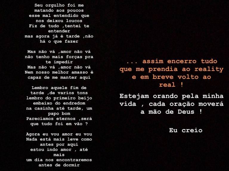 Luane Dias faz desabafo