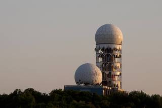 Antennas of the former NSA listening station are seen at the Teufelsberg hill in Berlin